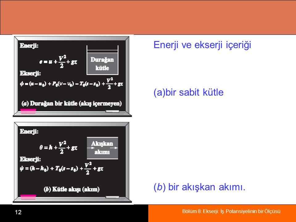 Bölüm 8: Ekserji: İş Potansiyelinin bir Ölçüsü 12 Enerji ve ekserji içeriği (a)bir sabit kütle (b) bir akışkan akımı.