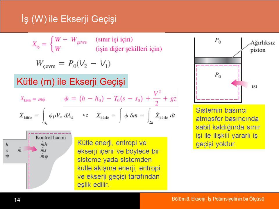 Bölüm 8: Ekserji: İş Potansiyelinin bir Ölçüsü 14 İş (W) ile Ekserji Geçişi Sistemin basıncı atmosfer basıncında sabit kaldığında sınır işi ile ilişki