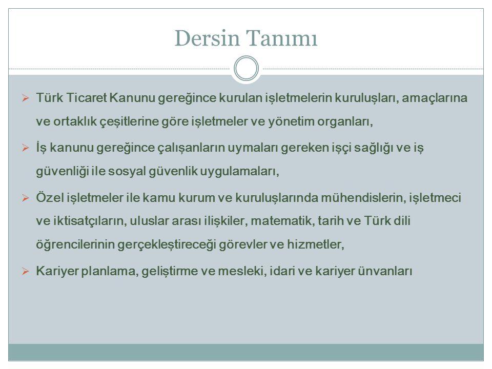 Dersin Tanımı  Türk Ticaret Kanunu gereğince kurulan işletmelerin kuruluşları, amaçlarına ve ortaklık çeşitlerine göre işletmeler ve yönetim organlar