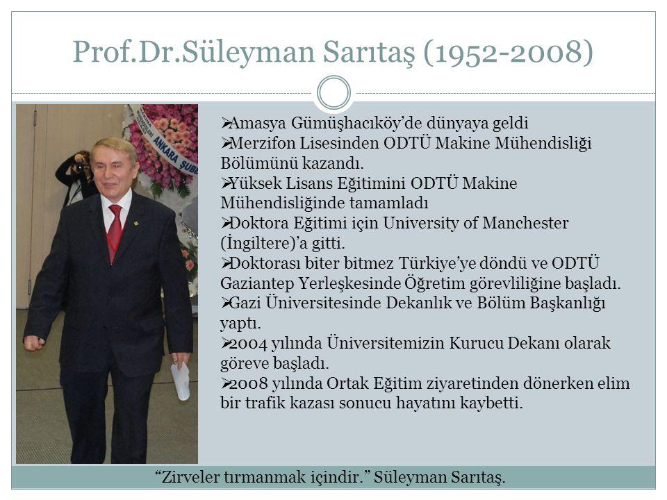 Prof.Dr.Süleyman Sarıtaş (1952-2008)  Amasya Gümüşhacıköy'de dünyaya geldi  Merzifon Lisesinden ODTÜ Makine Mühendisliği Bölümünü kazandı.  Yüksek