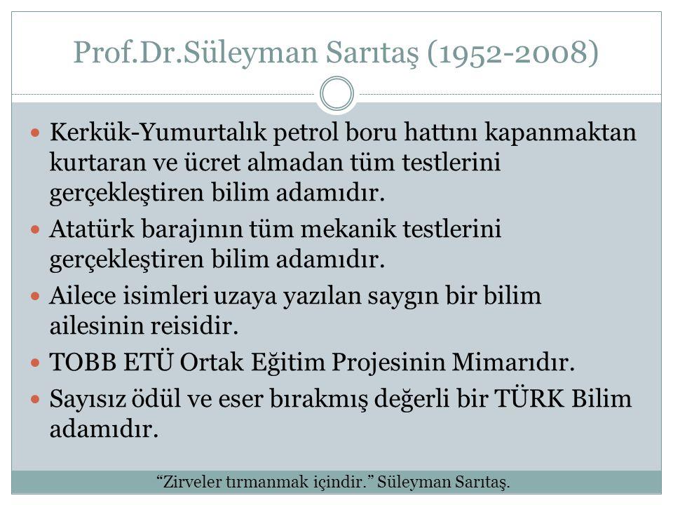 Prof.Dr.Süleyman Sarıtaş (1952-2008) Kerkük-Yumurtalık petrol boru hattını kapanmaktan kurtaran ve ücret almadan tüm testlerini gerçekleştiren bilim a