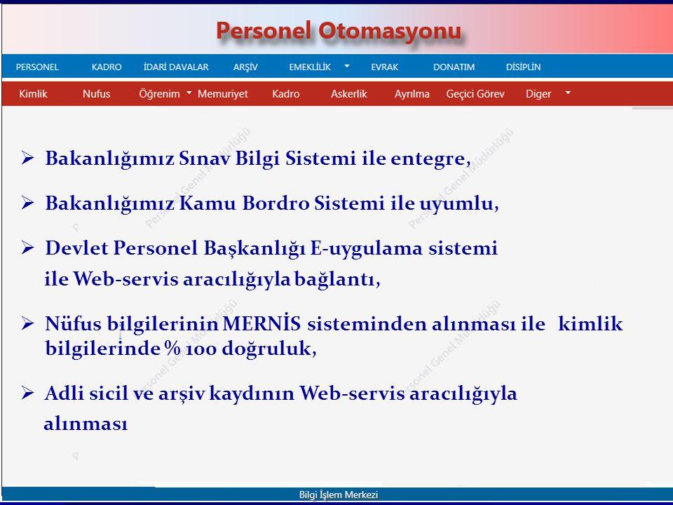  Bakanlığımız Sınav Bilgi Sistemi ile entegre,  Bakanlığımız Kamu Bordro Sistemi ile uyumlu,  Devlet Personel Başkanlığı E-uygulama sistemi ile Web-servis aracılığıyla bağlantı,  Nüfus bilgilerinin MERNİS sisteminden alınması ile kimlik bilgilerinde % 100 doğruluk,  Adli sicil ve arşiv kaydının Web-servis aracılığıyla alınması