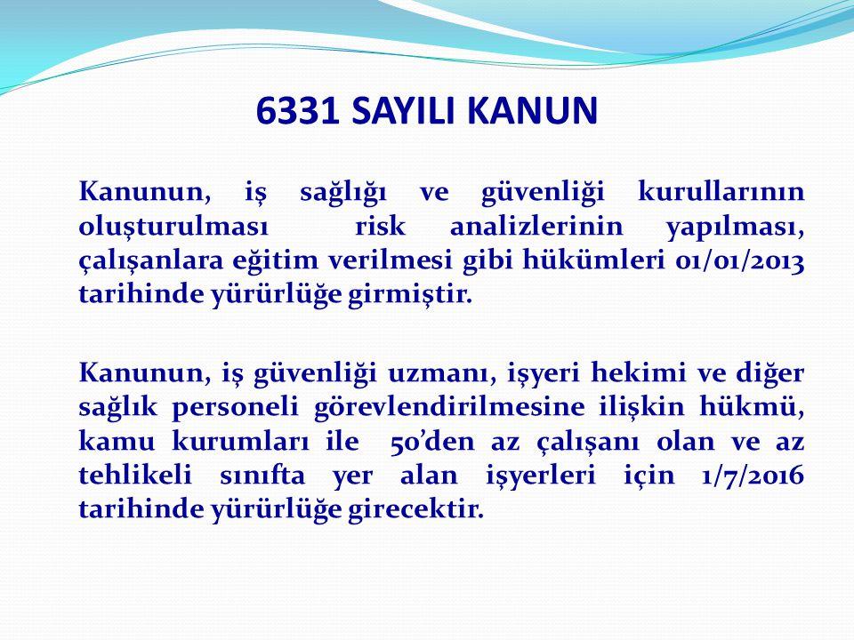 6331 SAYILI KANUN Kanunun, iş sağlığı ve güvenliği kurullarının oluşturulması risk analizlerinin yapılması, çalışanlara eğitim verilmesi gibi hükümleri 01/01/2013 tarihinde yürürlüğe girmiştir.