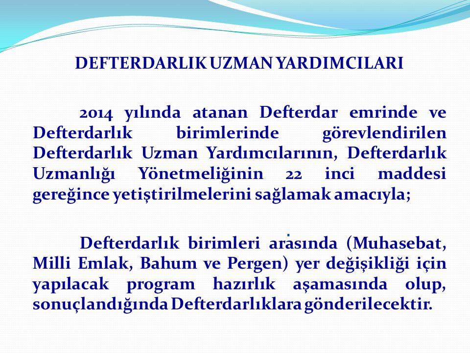 DEFTERDARLIK UZMAN YARDIMCILARI 2014 yılında atanan Defterdar emrinde ve Defterdarlık birimlerinde görevlendirilen Defterdarlık Uzman Yardımcılarının, Defterdarlık Uzmanlığı Yönetmeliğinin 22 inci maddesi gereğince yetiştirilmelerini sağlamak amacıyla; Defterdarlık birimleri arasında (Muhasebat, Milli Emlak, Bahum ve Pergen) yer değişikliği için yapılacak program hazırlık aşamasında olup, sonuçlandığında Defterdarlıklara gönderilecektir..