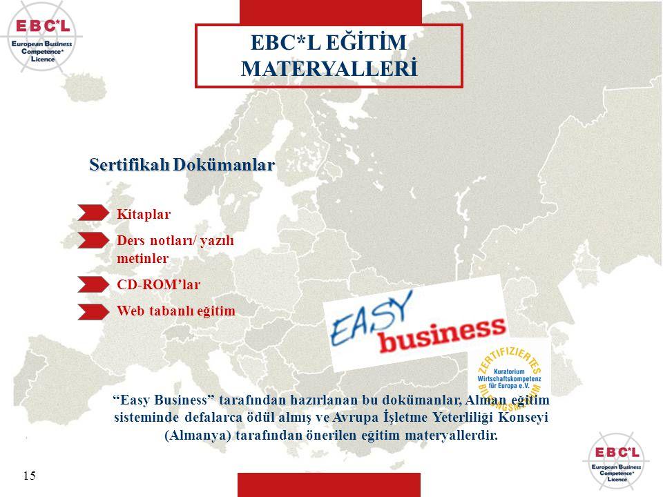 """15 """"Easy Business"""" tarafından hazırlanan bu dokümanlar, Alman eğitim sisteminde defalarca ödül almış ve Avrupa İşletme Yeterliliği Konseyi (Almanya) t"""