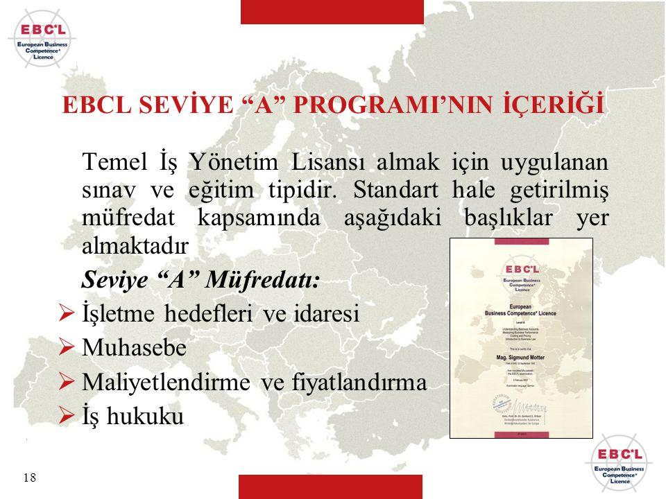 """18 EBCL SEVİYE """"A"""" PROGRAMI'NIN İÇERİĞİ Temel İş Yönetim Lisansı almak için uygulanan sınav ve eğitim tipidir. Standart hale getirilmiş müfredat kapsa"""