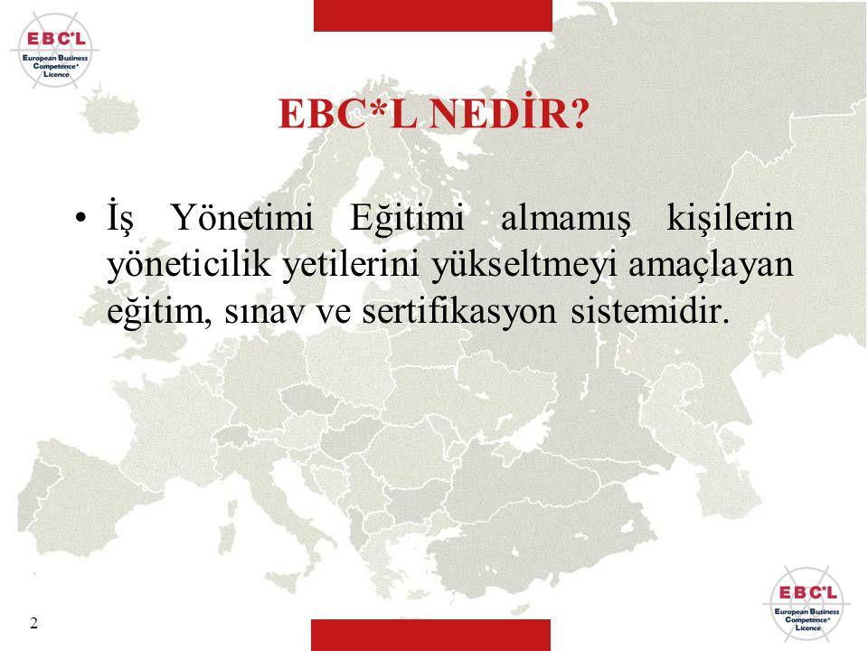 2 EBC*L NEDİR? İş Yönetimi Eğitimi almamış kişilerin yöneticilik yetilerini yükseltmeyi amaçlayan eğitim, sınav ve sertifikasyon sistemidir.
