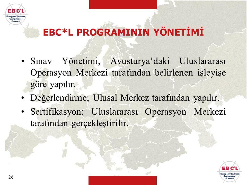 26 EBC*L PROGRAMININ YÖNETİMİ Sınav Yönetimi, Avusturya'daki Uluslararası Operasyon Merkezi tarafından belirlenen işleyişe göre yapılır. Değerlendirme