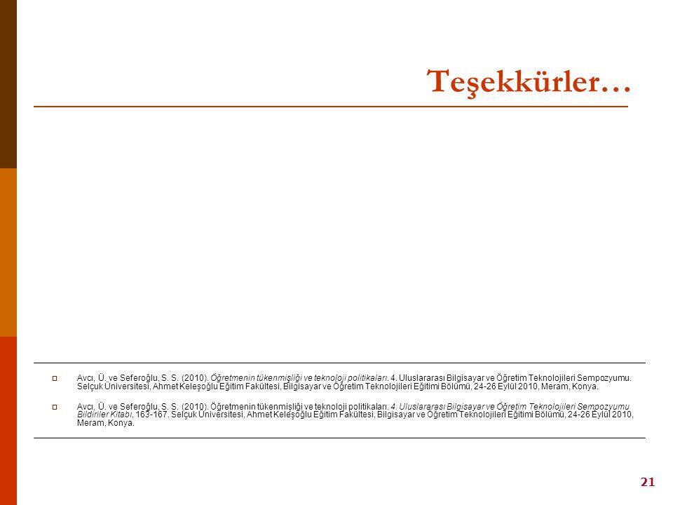 21 AVCI, SEFEROĞLU / 4. Uluslararası Bilgisayar ve Öğretim Teknolojileri Sempozyumu, 24-26 Eylül 2010, Konya Teşekkürler…  Avcı, Ü. ve Seferoğlu, S.