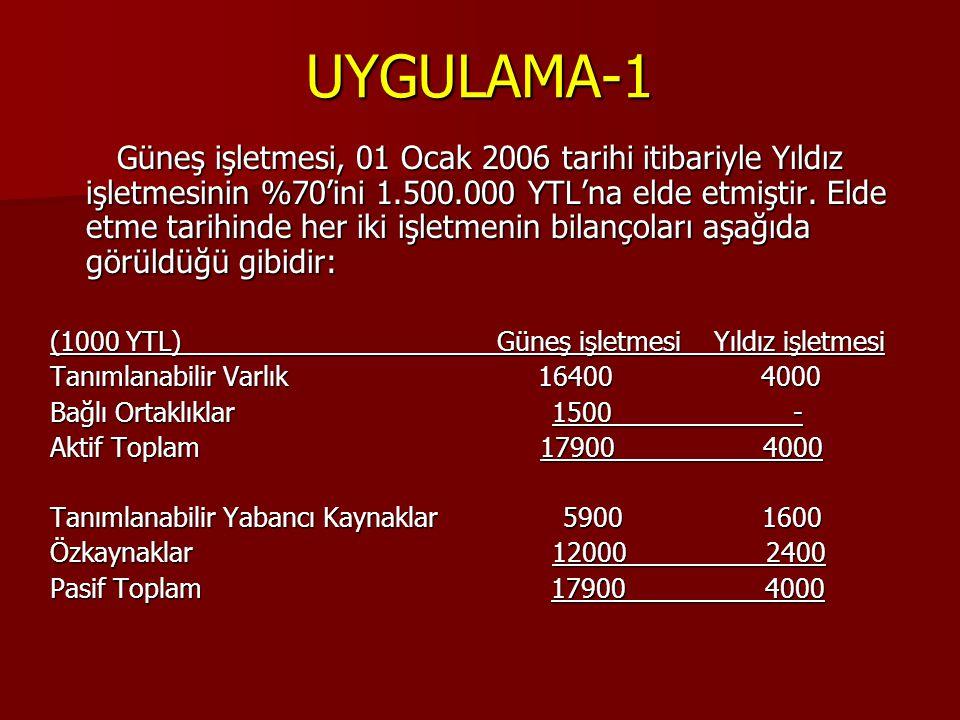 UYGULAMA-1 Güneş işletmesi, 01 Ocak 2006 tarihi itibariyle Yıldız işletmesinin %70'ini 1.500.000 YTL'na elde etmiştir. Elde etme tarihinde her iki işl