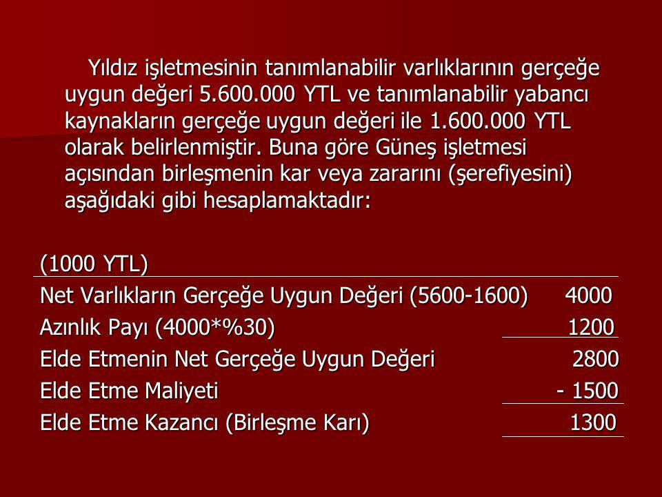 Yıldız işletmesinin tanımlanabilir varlıklarının gerçeğe uygun değeri 5.600.000 YTL ve tanımlanabilir yabancı kaynakların gerçeğe uygun değeri ile 1.6