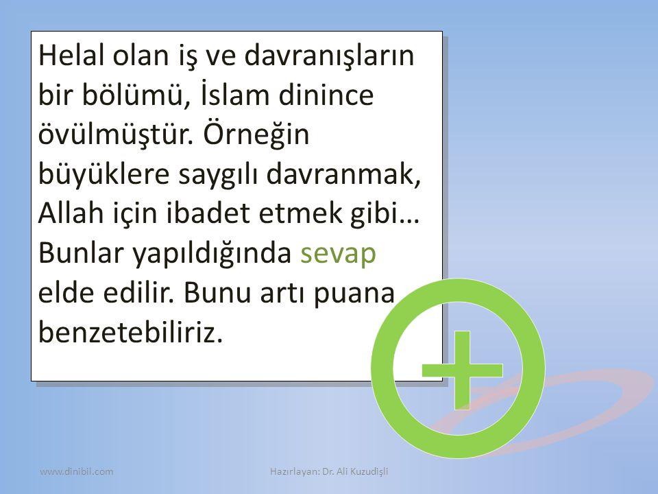 Helal olan iş ve davranışların bir bölümü, İslam dinince övülmüştür. Örneğin büyüklere saygılı davranmak, Allah için ibadet etmek gibi… Bunlar yapıldı