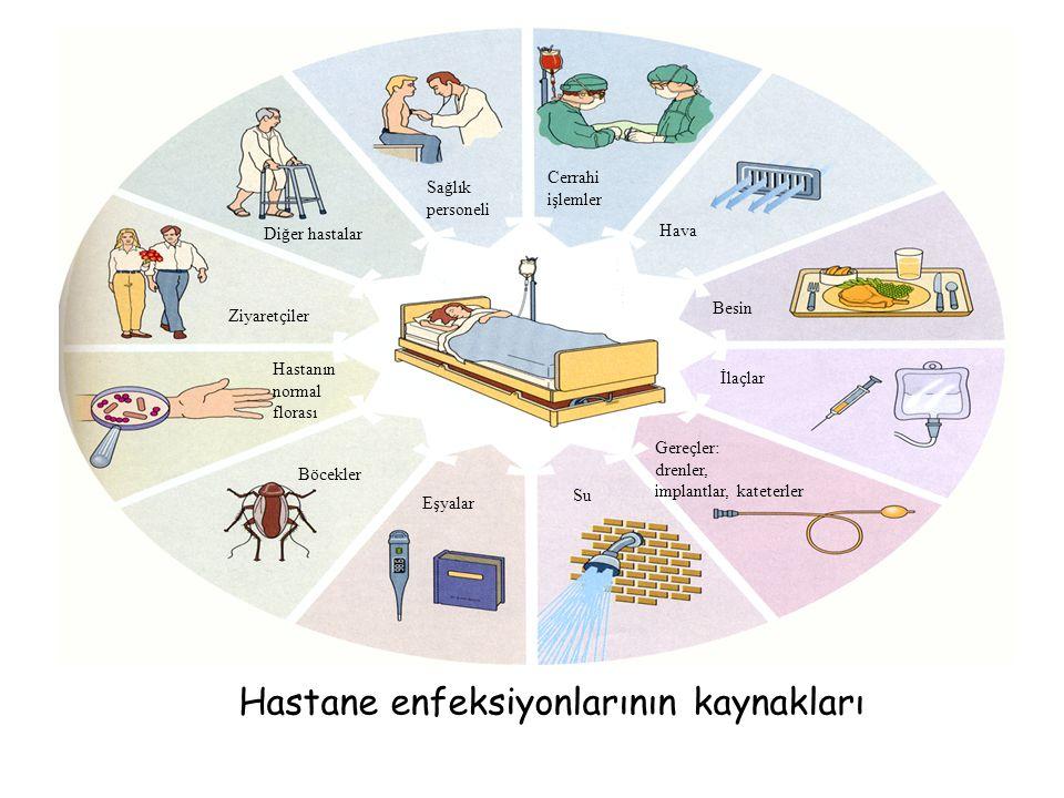 Cerrahi işlemler Hava Besin İlaçlar Gereçler: drenler, implantlar, kateterler Su Eşyalar Böcekler Hastanın normal florası Ziyaretçiler Diğer hastalar Sağlık personeli Hastane enfeksiyonlarının kaynakları