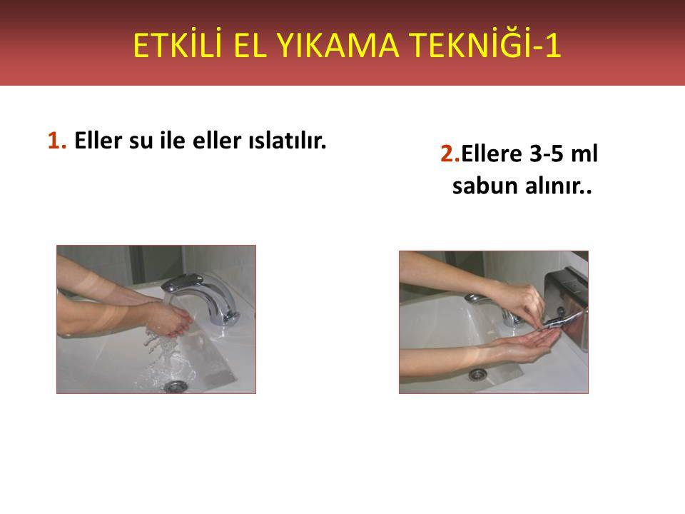 ETKİLİ EL YIKAMA TEKNİĞİ-1 1. Eller su ile eller ıslatılır. 2.Ellere 3-5 ml sabun alınır..