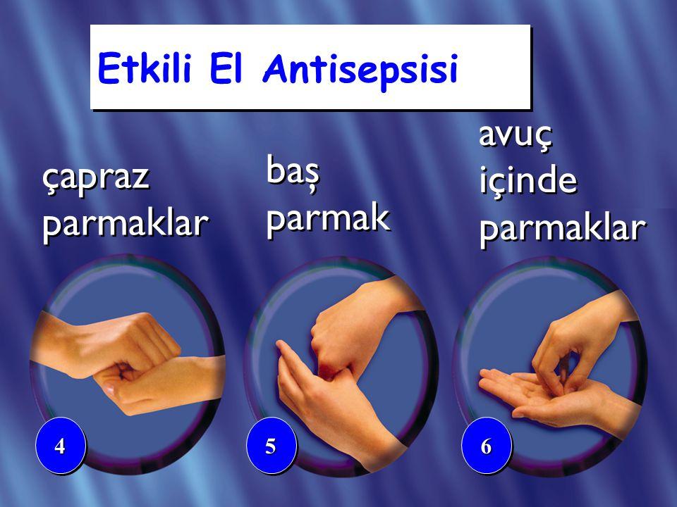 çapraz parmaklar baş parmak 445566 avuç içinde parmaklar Etkili El Antisepsisi