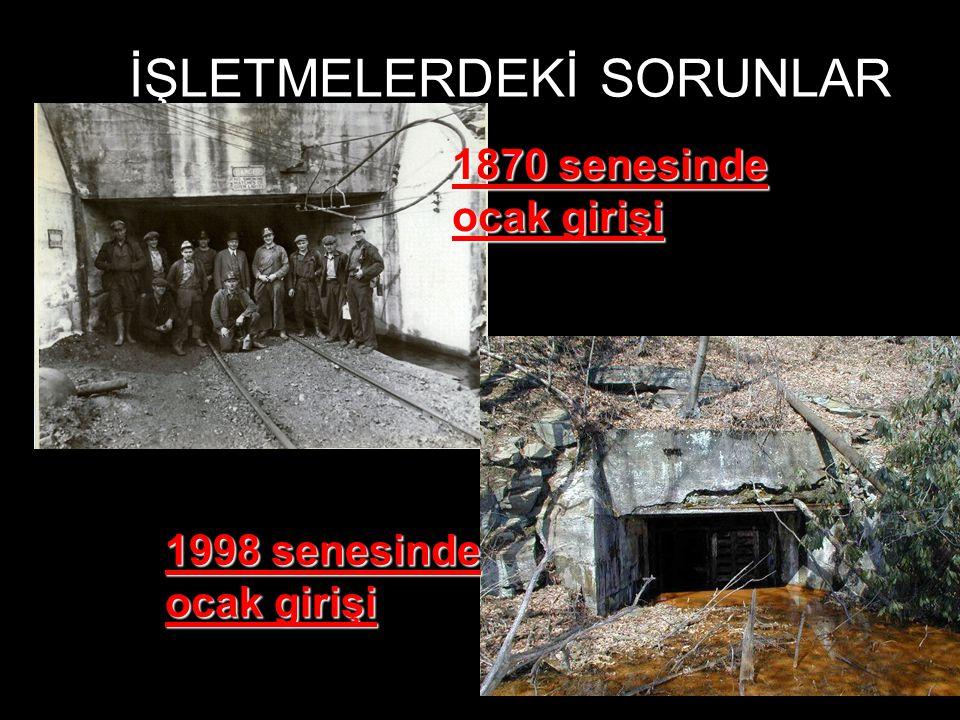 İŞLETMELERDEKİ SORUNLAR 1870 senesinde ocak girişi 1998 senesinde ocak girişi