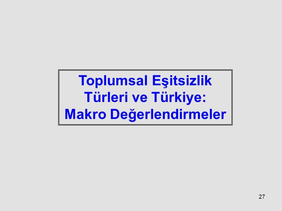 27 Toplumsal Eşitsizlik Türleri ve Türkiye: Makro Değerlendirmeler