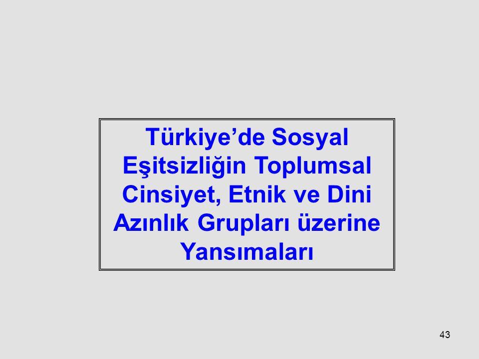 43 Türkiye'de Sosyal Eşitsizliğin Toplumsal Cinsiyet, Etnik ve Dini Azınlık Grupları üzerine Yansımaları