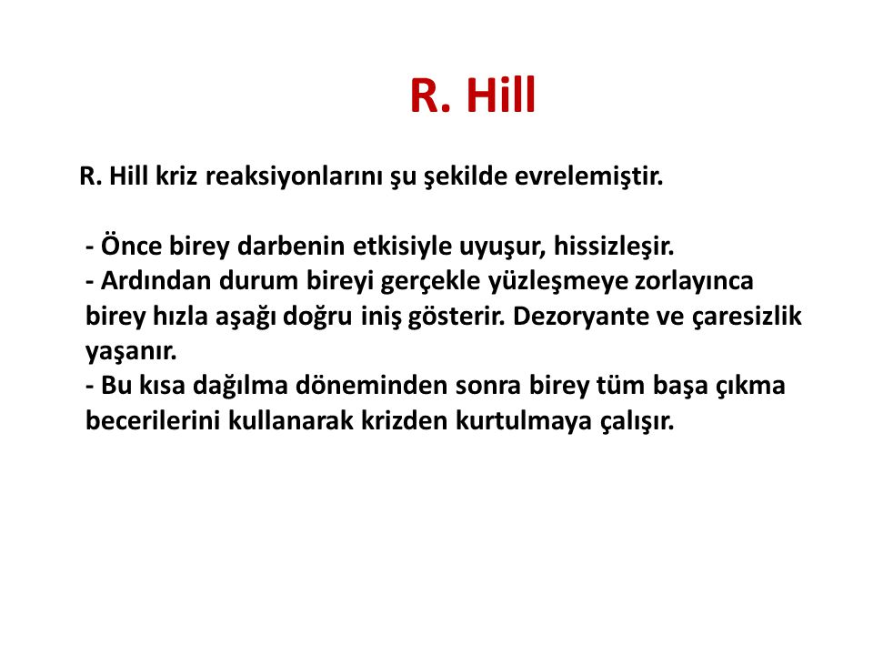 R. Hill R. Hill kriz reaksiyonlarını şu şekilde evrelemiştir. - Önce birey darbenin etkisiyle uyuşur, hissizleşir. - Ardından durum bireyi gerçekle yü