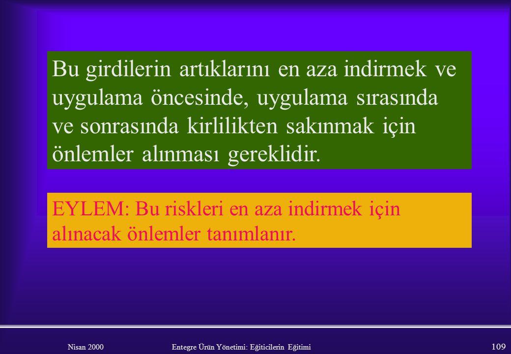 Nisan 2000 Entegre Ürün Yönetimi: Eğiticilerin Eğitimi 108 Zirai mücadele ilaçları ve gübrelerle ilişkili kirlilik özel dikkat ve özen gerektirir. EYL