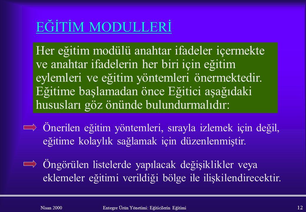 Nisan 2000 Entegre Ürün Yönetimi: Eğiticilerin Eğitimi 11 HATIRLATMA : Eğiticinin temel amacı, eğitim sürecinin önemli bir bölümünde EÜY'nin bileşenle