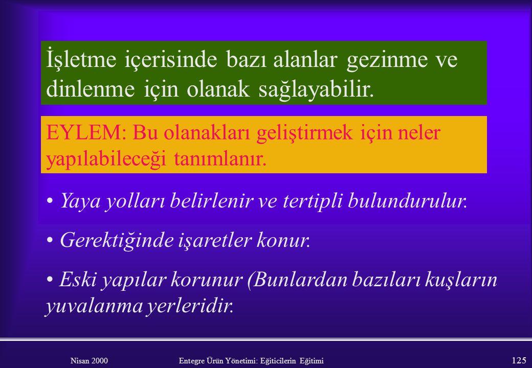 Nisan 2000 Entegre Ürün Yönetimi: Eğiticilerin Eğitimi 124 Tarla kenarları ve sınırlar Kıyı çalılıklarının yönetimi işletilmelidir (nöbetli budama, yu