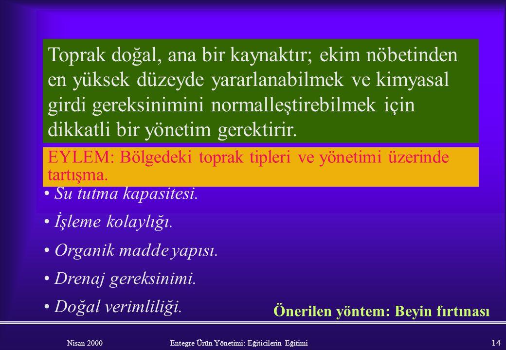 Nisan 2000 Entegre Ürün Yönetimi: Eğiticilerin Eğitimi 13 Modül 1: TOPRAK YÖNETİMİ VE BİTKİ BESLEME EĞİTİCİLER İÇİN GENEL BİLGİ