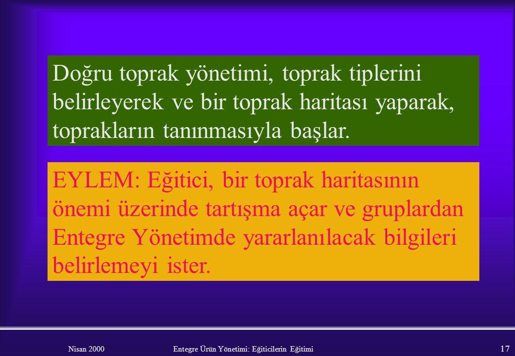 Nisan 2000 Entegre Ürün Yönetimi: Eğiticilerin Eğitimi 16 Toprak işleme uygulamaları. Kullanılan makinelerin tip ve boyutları. Sulama yönetimi – Drena