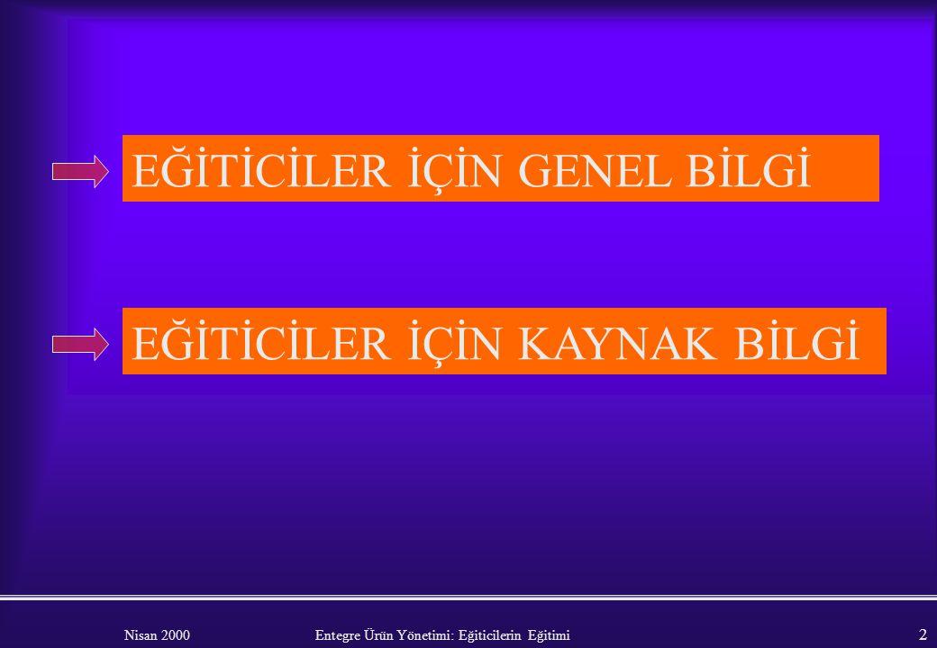 Nisan 2000 Entegre Ürün Yönetimi: Eğiticilerin Eğitimi 1 ENTEGRE TARIMSAL ÜRÜN YÖNETİMİ Hasan Kıroğlu Eğiticilerin Eğitimi (Kaynak ECPA)