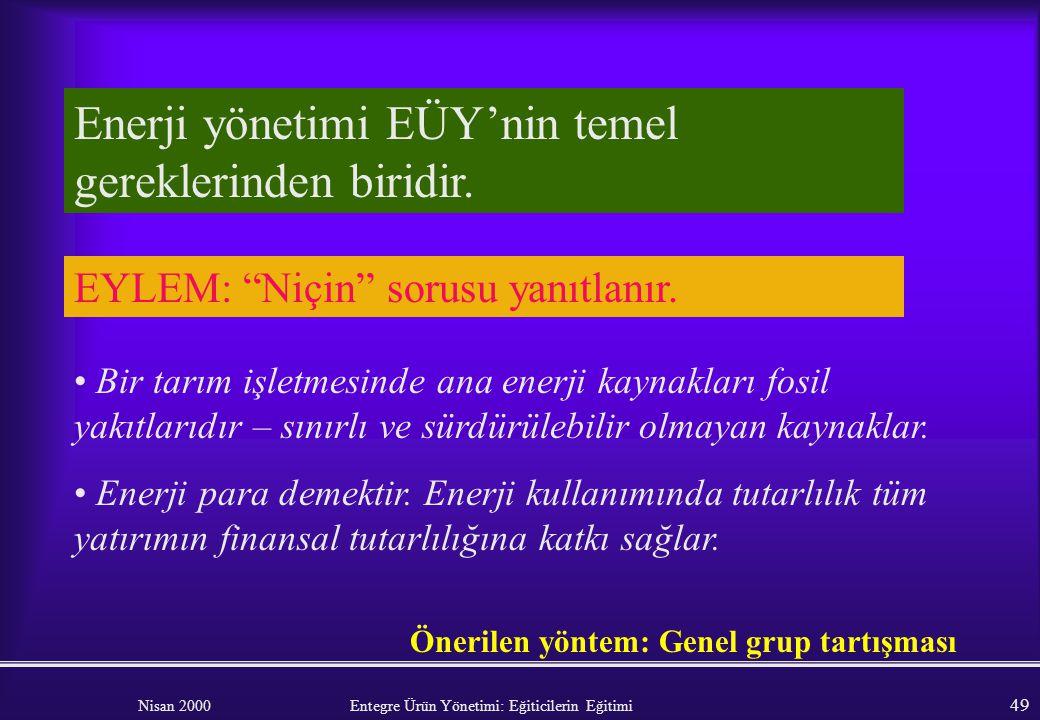 Nisan 2000 Entegre Ürün Yönetimi: Eğiticilerin Eğitimi 48 Modül 3: ENERJİ YÖNETİMİ