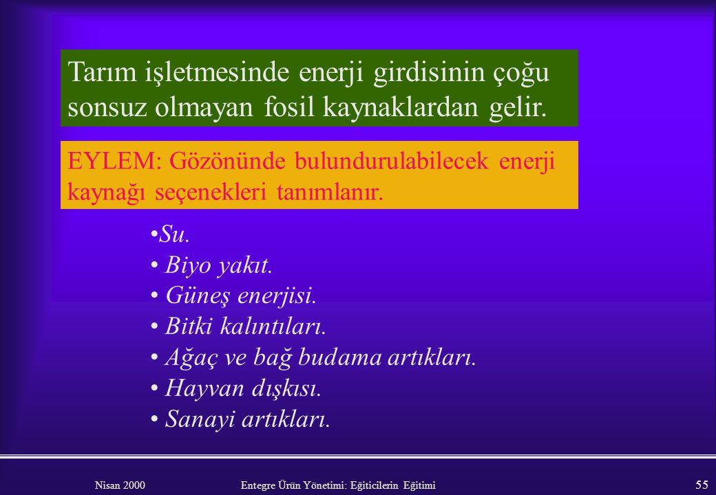 Nisan 2000 Entegre Ürün Yönetimi: Eğiticilerin Eğitimi 54 Aydınlatma : Zaman ayarlı anahtarlar. Aydınlatma etkin ampuller (floressan). Çiftlik evinde