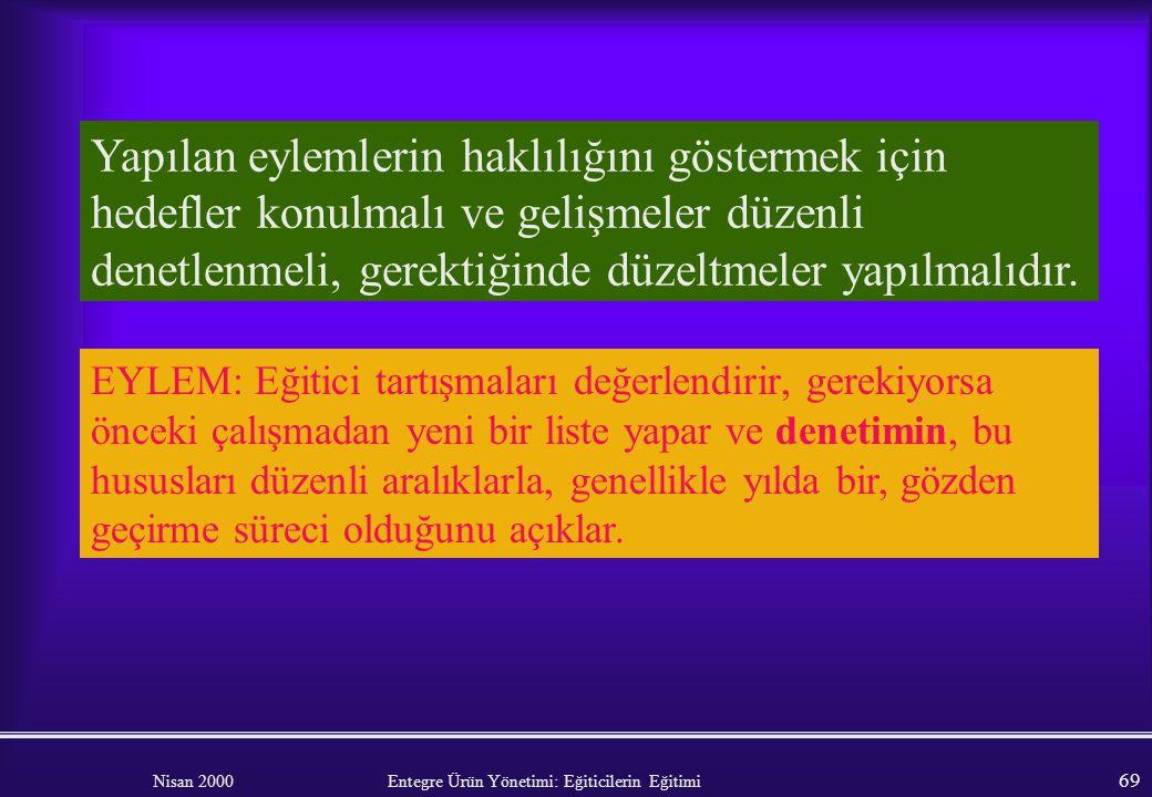 Nisan 2000 Entegre Ürün Yönetimi: Eğiticilerin Eğitimi 68 Organizasyon yönetimi Eğitim programı ( güncelleştirilmiş mi?) Tavsiye kalitesi (danışmanlar