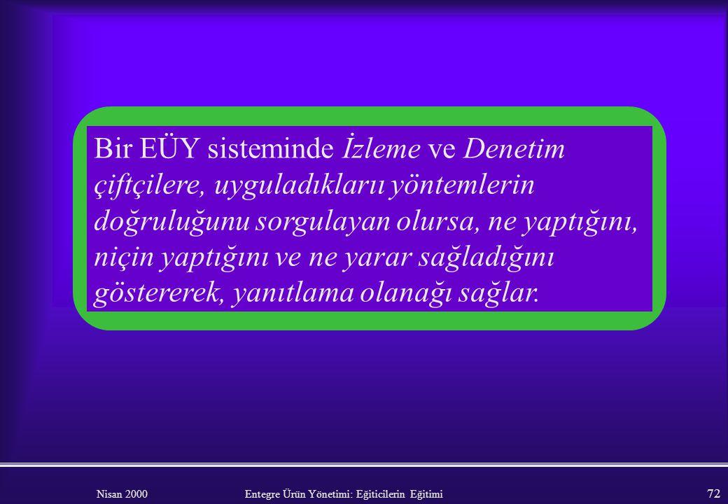 Nisan 2000 Entegre Ürün Yönetimi: Eğiticilerin Eğitimi 71 EYLEM: Kursu bitirirken, gruptan, bir yönetim aracı olarak denetlemenin yararlarını tanımlam