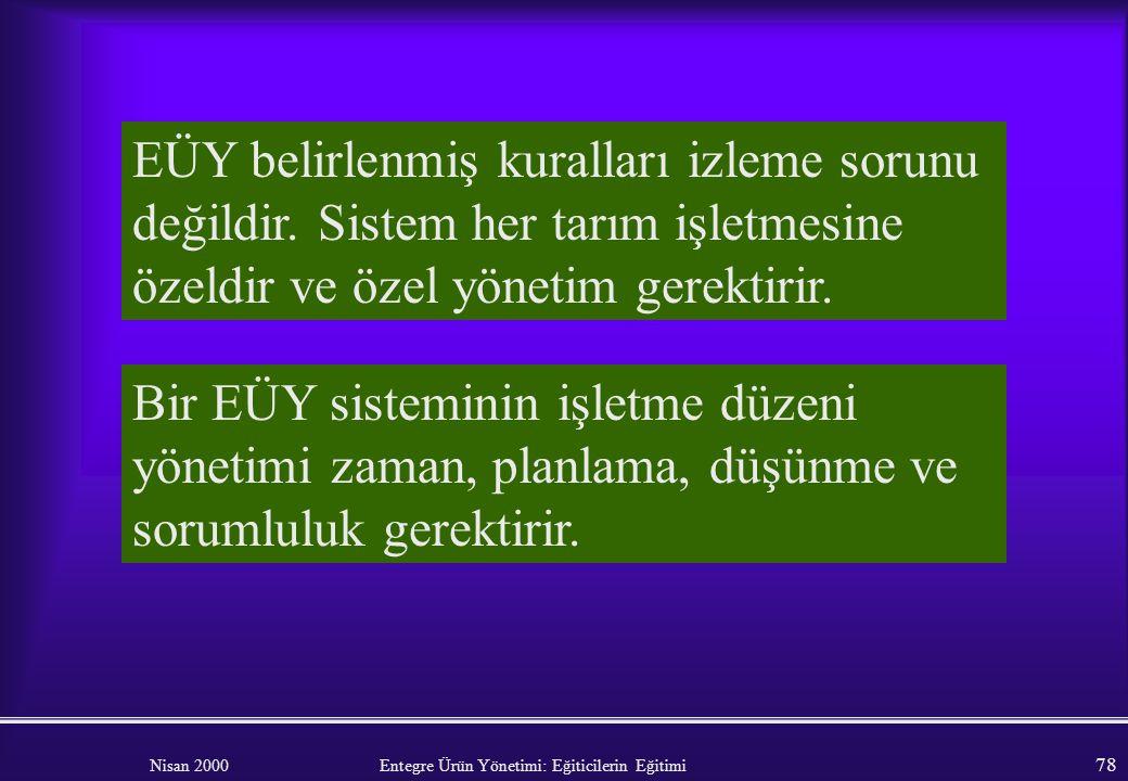 Nisan 2000 Entegre Ürün Yönetimi: Eğiticilerin Eğitimi 77 Bir EÜY sisteminin işletilmesi önemli ölçüde yönetim girdisi gerektirir. Zaman kullanımı. Pl