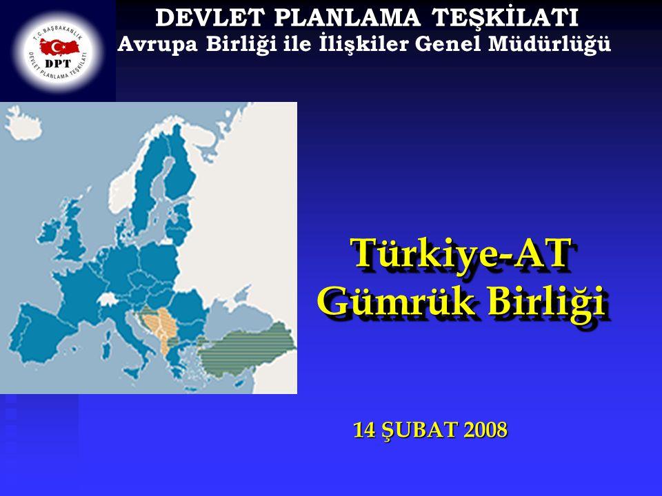 Avrupa Birliği ile İlişkiler Genel Müdürlüğü DEVLET PLANLAMA TEŞKİLATI Türkiye-AT Gümrük Birliği Türkiye-AT 14 ŞUBAT 2008