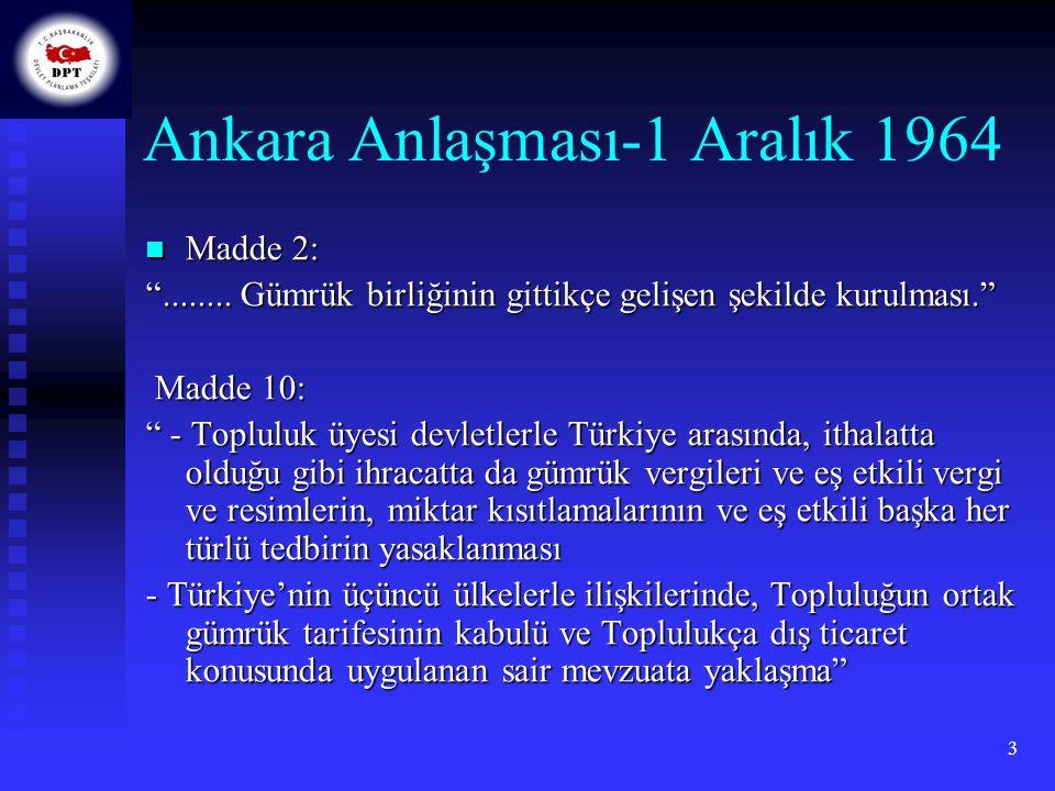 4 Katma Protokol-1 Ocak 1973 Geçiş döneminde; Geçiş döneminde; - Taraflar arasında sanayi ürünlerini konu alan bir gümrük birliğinin tedricen gerçekleştirilmesi, - İşçilerin karşılıklı olarak serbest dolaşımının sağlanması, - Tarım ürünlerinde giderek genişleyecek bir tercihli ticaret rejiminin uygulanması, - Katma Protokolün belirlediği alanlarda Türkiye ile AT arasında mevzuat ve politikaların yaklaştırılması - Şartların elverdiği ölçüde, hizmetlerin serbest dolaşımı süreçlerinin başlatılması