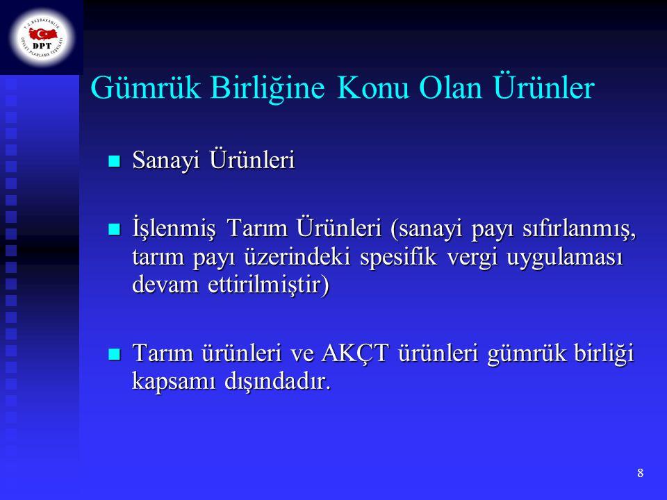 9  Sanayi ürünlerinde tüm gümrük vergileri, eş etkili tedbirler ve miktar kısıtlamalarının kaldırılması  AT'nin Ortak Ticaret Politikasına (OTP) uyum sağlanması Ticaret politikası araçlarının (anti-damping, anti- sübvansiyon uygulamaları, ithalatta gözetim ve denetim vb.) benimsenmesi Ortak Gümrük Tarifesinin (OGT) benimsenmesi Tercihli tarife politikalarının üstlenilmesi  Topluluk teknik mevzuatına uyum sağlanması  Tarım ve işlenmiş tarım ürünleri  Fikri ve sınai mülkiyet hakları  Rekabet hukuku ve devlet yardımları  Kamu ihaleleri  Vergilendirme gibi alanlarda çeşitli hükümler içermektedir.