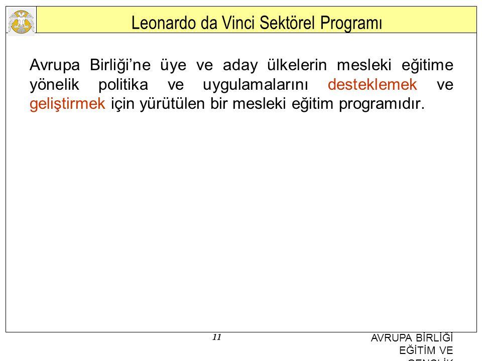 11 AVRUPA BİRLİĞİ EĞİTİM VE GENÇLİK PROGRAMLARI MERKEZİ BAŞKANLIĞI Leonardo da Vinci Sektörel Programı Avrupa Birliği'ne üye ve aday ülkelerin mesleki