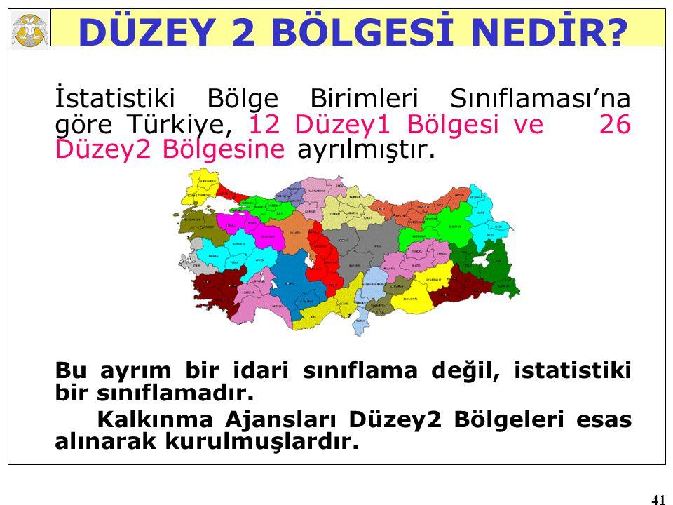 41 DÜZEY 2 BÖLGESİ NEDİR? İstatistiki Bölge Birimleri Sınıflaması'na göre Türkiye, 12 Düzey1 Bölgesi ve 26 Düzey2 Bölgesine ayrılmıştır. Bu ayrım bir