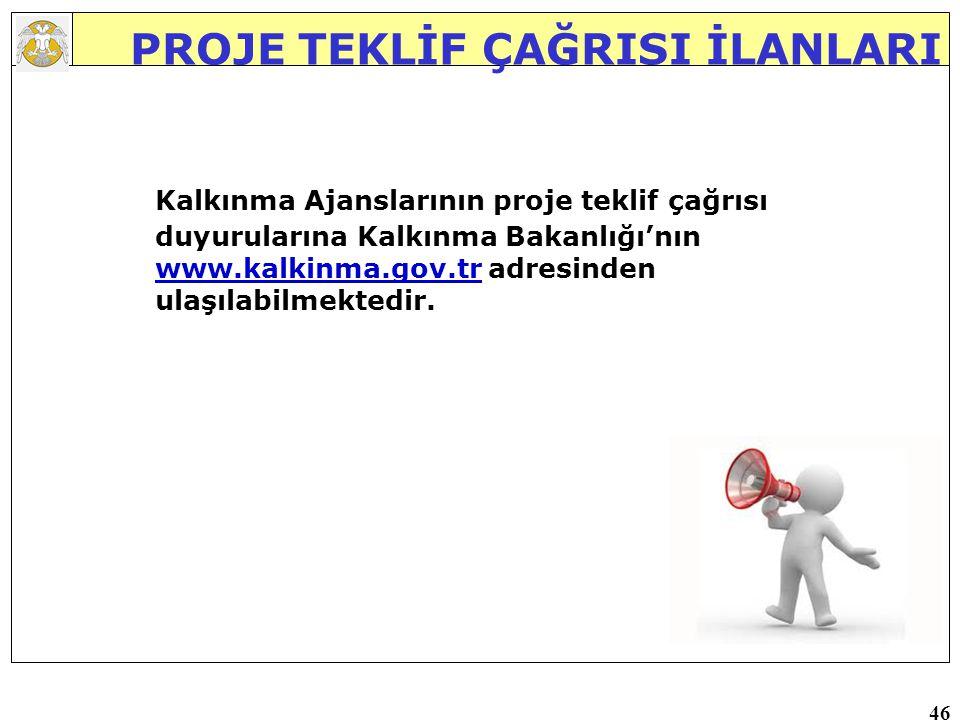 46 PROJE TEKLİF ÇAĞRISI İLANLARI Kalkınma Ajanslarının proje teklif çağrısı duyurularına Kalkınma Bakanlığı'nın www.kalkinma.gov.tr adresinden ulaşılabilmektedir.