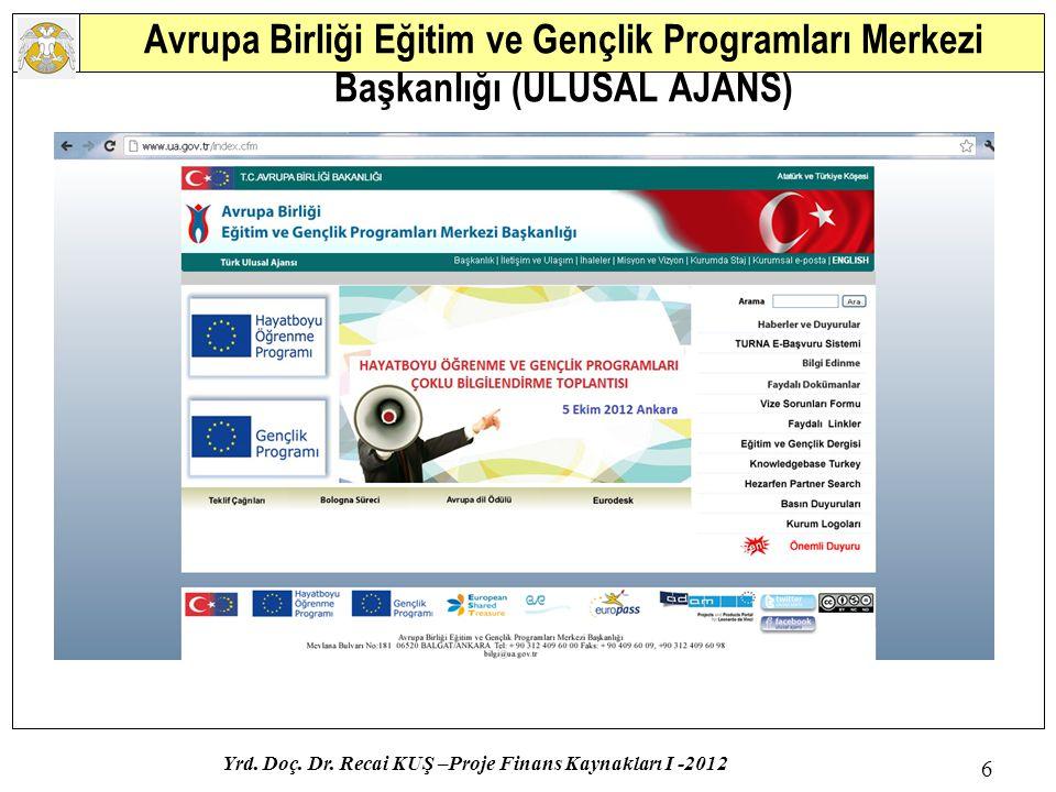 Avrupa Birliği Eğitim ve Gençlik Programları Merkezi Başkanlığı (ULUSAL AJANS) Yrd. Doç. Dr. Recai KUŞ –Proje Finans Kaynakları I -2012 6