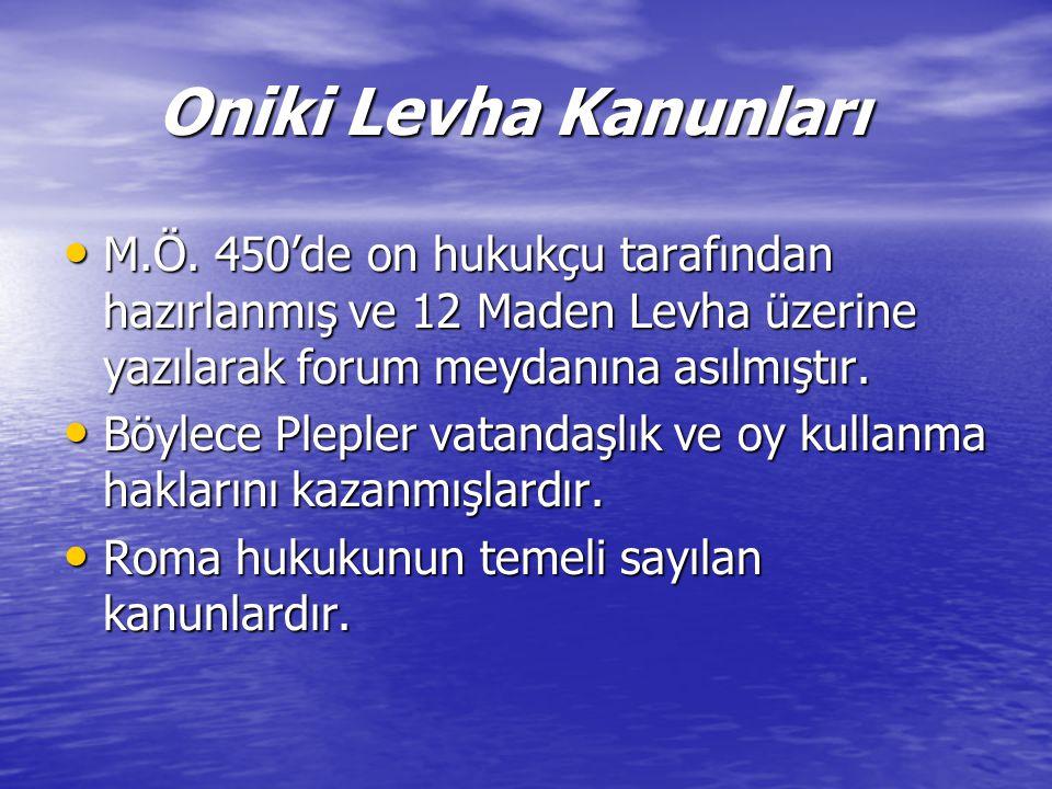 Oniki Levha Kanunları Oniki Levha Kanunları M.Ö.