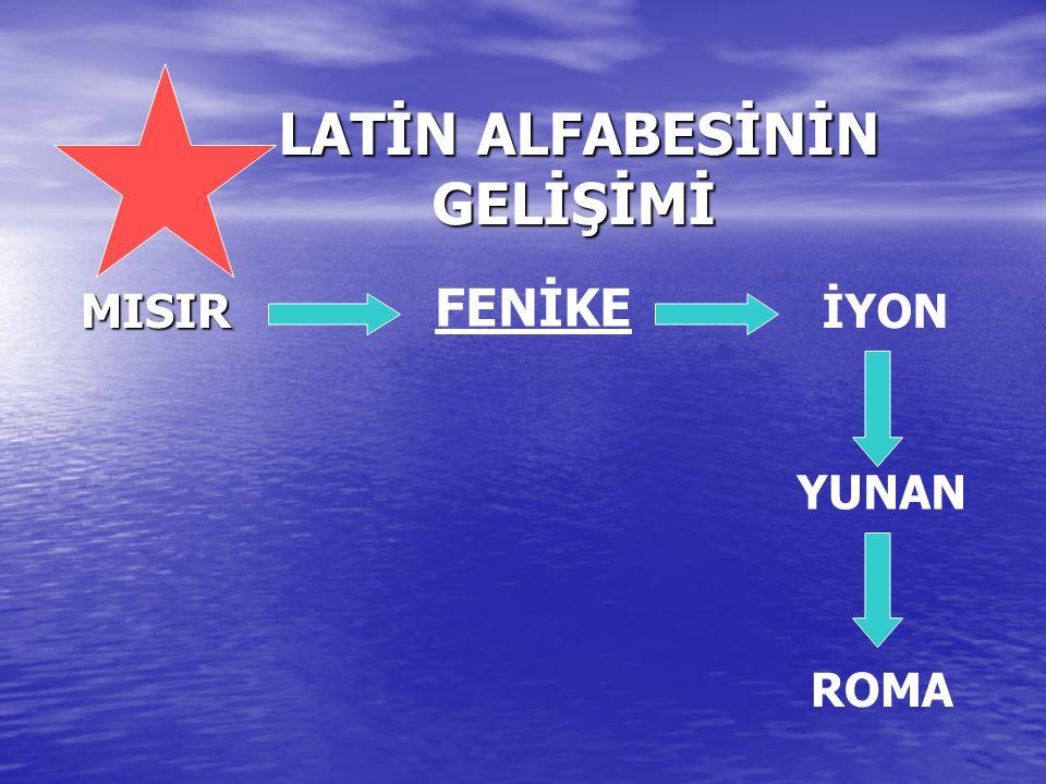LATİN ALFABESİNİN GELİŞİMİ MISIR FENİKE İYON YUNAN ROMA