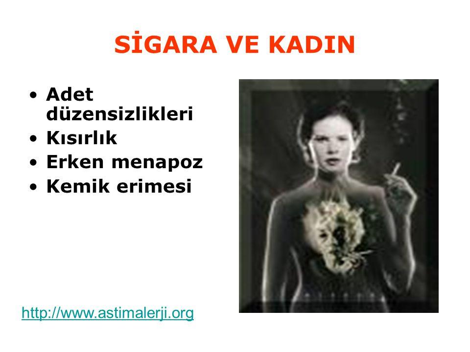 SİGARA VE KADIN Adet düzensizlikleri Kısırlık Erken menapoz Kemik erimesi http://www.astimalerji.org