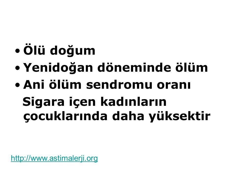 Ölü doğum Yenidoğan döneminde ölüm Ani ölüm sendromu oranı Sigara içen kadınların çocuklarında daha yüksektir http://www.astimalerji.org
