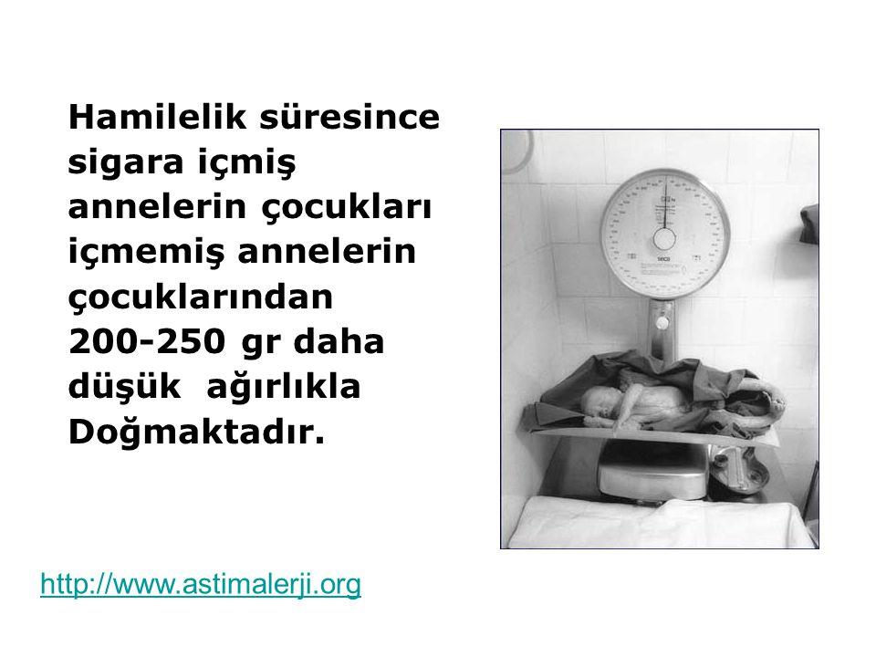 Hamilelik süresince sigara içmiş annelerin çocukları içmemiş annelerin çocuklarından 200-250 gr daha düşük ağırlıkla Doğmaktadır. http://www.astimaler