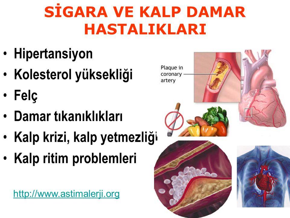 SİGARA VE KALP DAMAR HASTALIKLARI Hipertansiyon Kolesterol yüksekliği Felç Damar tıkanıklıkları Kalp krizi, kalp yetmezliği Kalp ritim problemleri http://www.astimalerji.org
