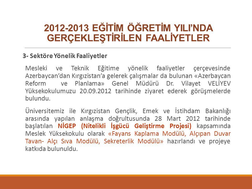 2012-2013 EĞİTİM ÖĞRETİM YILI'NDA GERÇEKLEŞTİRİLEN FAALİYETLER 3- Sektöre Yönelik Faaliyetler Mesleki ve Teknik Eğitime yönelik faaliyetler çerçevesin