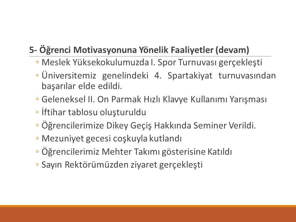 5- Öğrenci Motivasyonuna Yönelik Faaliyetler (devam) ◦Meslek Yüksekokulumuzda I. Spor Turnuvası gerçekleşti ◦Üniversitemiz genelindeki 4. Spartakiyat