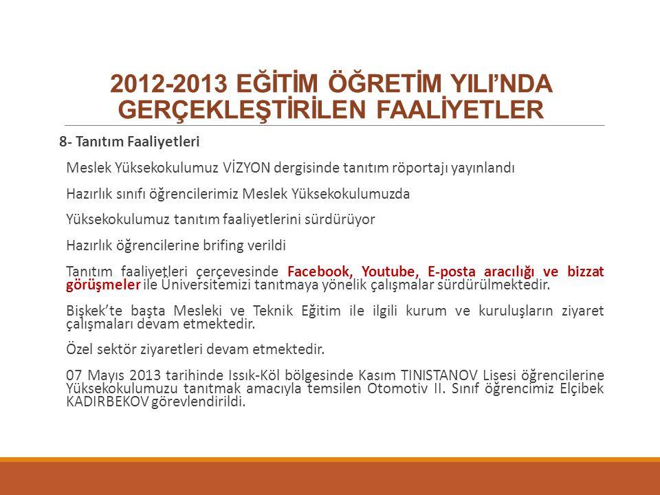 2012-2013 EĞİTİM ÖĞRETİM YILI'NDA GERÇEKLEŞTİRİLEN FAALİYETLER 8- Tanıtım Faaliyetleri Meslek Yüksekokulumuz VİZYON dergisinde tanıtım röportajı yayın